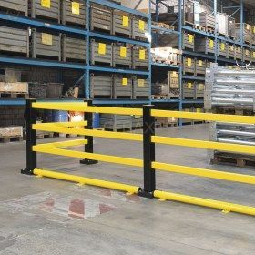 Barrera peatonal flexible de seguridad industrial